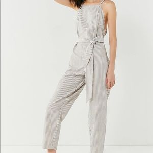 Striped Jumpsuit - Cream and White